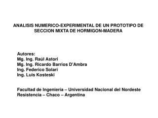 ANALISIS NUMERICO-EXPERIMENTAL DE UN PROTOTIPO DE SECCION MIXTA DE HORMIGON-MADERA