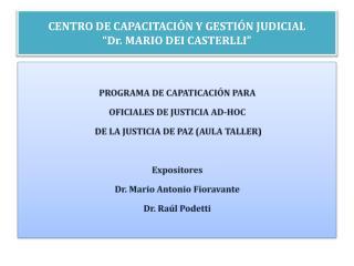 CENTRO DE CAPACITACI N Y GESTI N JUDICIAL  Dr. MARIO DEI CASTERLLI