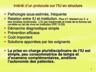 Int r t d un protocole sur l IU en structure
