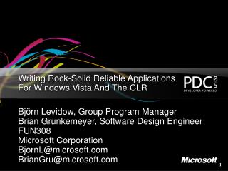 Writing Rock-Solid Reliable Applications For Windows Vista And The CLR