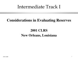 Intermediate Track I