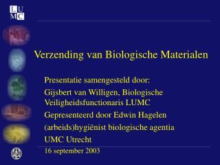 Verzending van Biologische Materialen