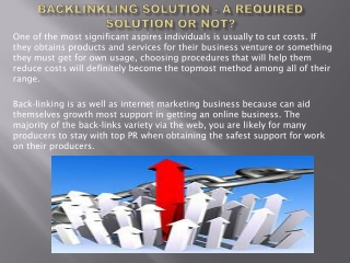 Backlinkling Solution - A Required Solution or Not