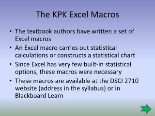 The KPK Excel Macros