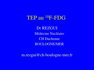 TEP au 18F-FDG