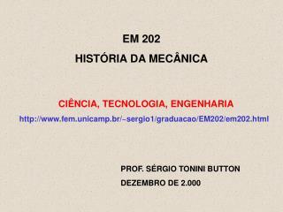 EM 202 HIST RIA DA MEC NICA
