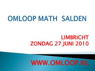 OMLOOP MATH  SALDEN