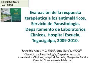 Evaluaci n de la respuesta terap utica a los antimal ricos, Servicio de Parasitolog a, Departamento de Laboratorios Cl n