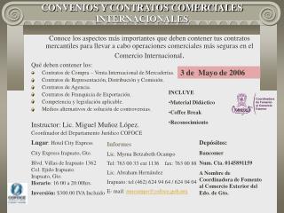CONVENIOS Y CONTRATOS COMERCIALES  INTERNACIONALES