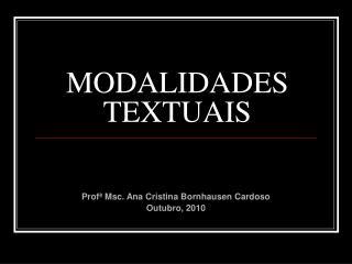 MODALIDADES TEXTUAIS