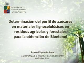 UNIVERSIDAD DE CHILE FACULTAD DE CIENCIAS QU MICA AMBIENTAL