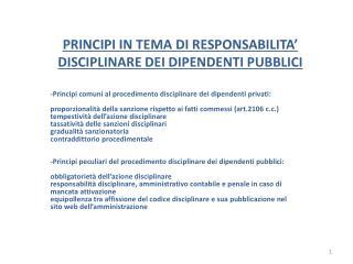 PRINCIPI IN TEMA DI RESPONSABILITA  DISCIPLINARE DEI DIPENDENTI PUBBLICI