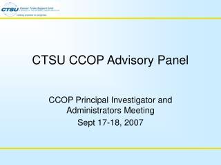 CTSU CCOP Advisory Panel