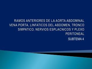 RAMOS ANTERIORES DE LA AORTA ABDOMINAL VENA PORTA, LINFATICOS DEL ABDOMEN, TRONCO SIMPATICO, NERVIOS ESPLACNICOS Y PLEXO