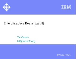 Enterprise Java Beans part II