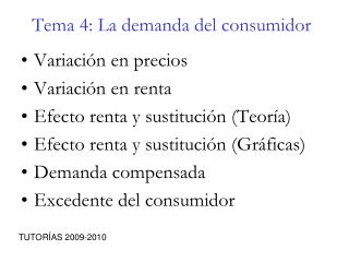 Tema 4: La demanda del consumidor