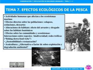 TEMA 7. EFECTOS ECOL GICOS DE LA PESCA