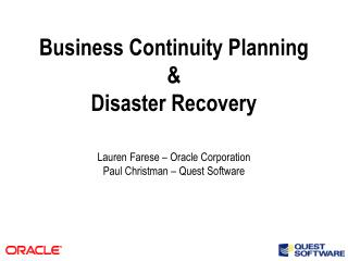 Business Continuity Planning  Disaster Recovery