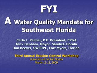 FYI  A Water Quality Mandate for Southwest Florida
