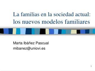 La familias en la sociedad actual:  los nuevos modelos familiares