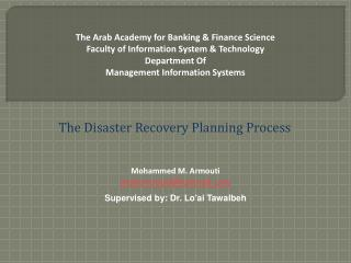 The Arab Academy for Banking  Finance Science Faculty of Information System  Technology Department Of Management Informa