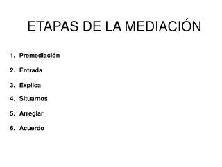 ETAPAS DE LA MEDIACI N