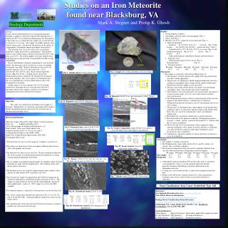Studies on an Iron Meteorite found near Blacksburg, VA