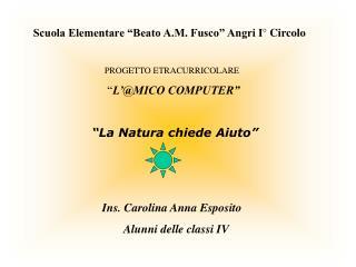 Scuola Elementare  Beato A.M. Fusco  Angri I  Circolo  PROGETTO ETRACURRICOLARE   L MICO COMPUTER      La Natura chiede