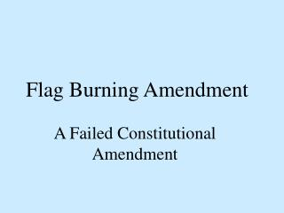Flag Burning Amendment