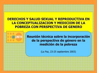 DERECHOS Y SALUD SEXUAL Y REPRODUCTIVA EN  LA CONCEPTUALIZACION Y MEDICION DE LA POBREZA CON PERSPECTIVA DE GENERO