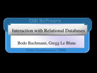 Interaction with Relational Databases