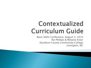 Contextualized Curriculum Guide