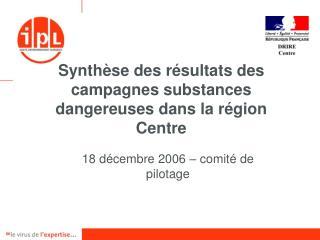 Synth se des r sultats des campagnes substances dangereuses dans la r gion Centre