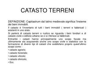 CATASTO TERRENI