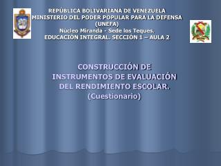 REP BLICA BOLIVARIANA DE VENEZUELA MINISTERIO DEL PODER POPULAR PARA LA DEFENSA UNEFA N cleo Miranda - Sede los Teques.