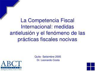 La Competencia Fiscal Internacional: medidas antielusi n y el fen meno de las pr cticas fiscales nocivas