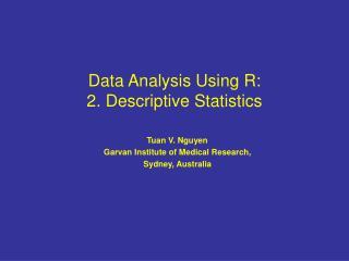 Data Analysis Using R: 2. Descriptive Statistics