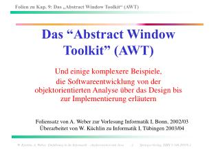 Das  Abstract Window Toolkit  AWT