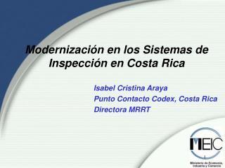 Modernizaci n en los Sistemas de Inspecci n en Costa Rica