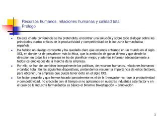 Recursos humanos, relaciones humanas y calidad total Prologo