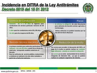 Incidencia en DITRA de la Ley Antitr mites  Decreto 0019 del 10 01 2012