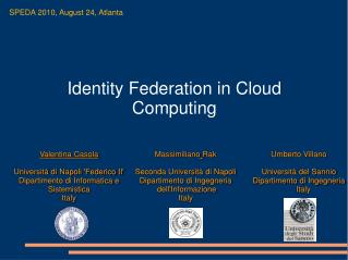 Identity Federation in Cloud Computing