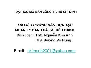 I HC M B N C NG TP. H CH  MINH