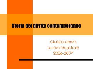 Storia del diritto contemporaneo