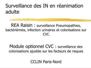 Surveillance des IN en r animation adulte