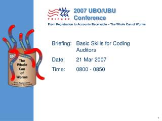 Briefing: Basic Skills for Coding Auditors Date:   21 Mar 2007  Time:   0800 - 0850