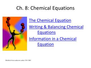 Ch. 8: Chemical Equations