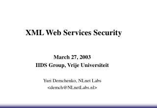 XML Web Services Security