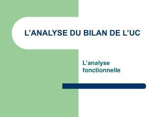 L ANALYSE DU BILAN DE L UC