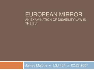 European mirror An examination of disability law in the EU
